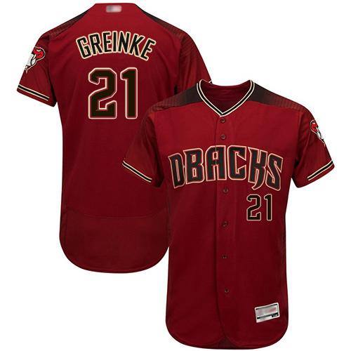 Diamondbacks #21 Zack Greinke Sedona Red Flexbase Authentic Collection Stitched Baseball Jersey