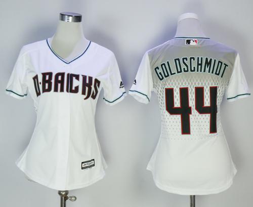 Diamondbacks #44 Paul Goldschmidt White Home Women's Stitched MLB Jersey