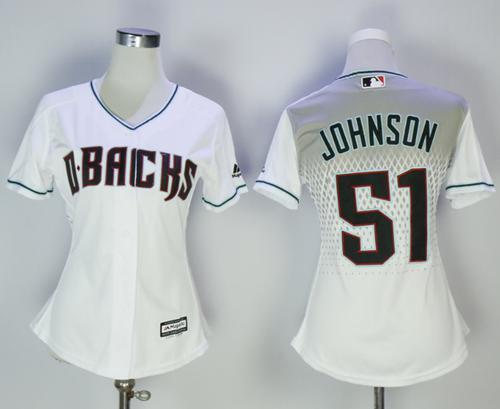 Diamondbacks #51 Randy Johnson White Home Women's Stitched MLB Jersey