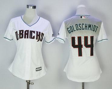 Diamondbacks 44 Paul Goldschmidt White Capri Women Cool Base Jersey