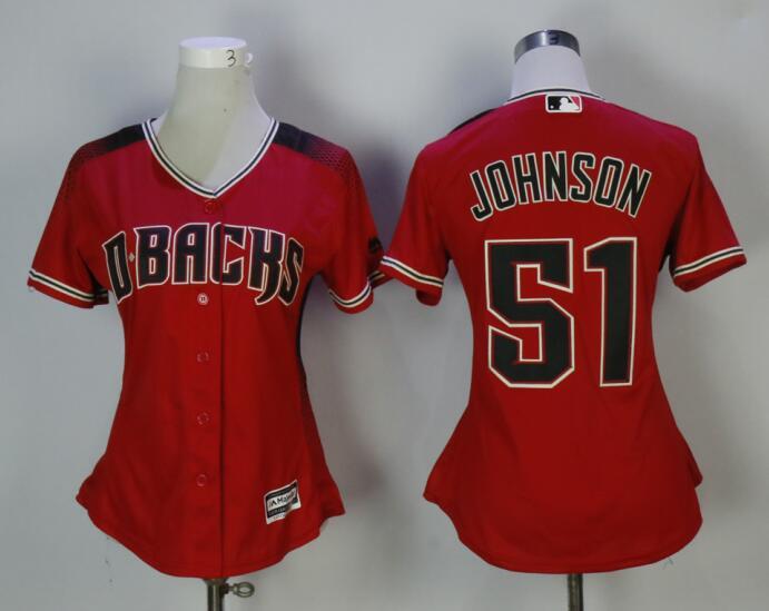 Diamondbacks 51 Randy Johnson Red Sedona Women Cool Base Jersey