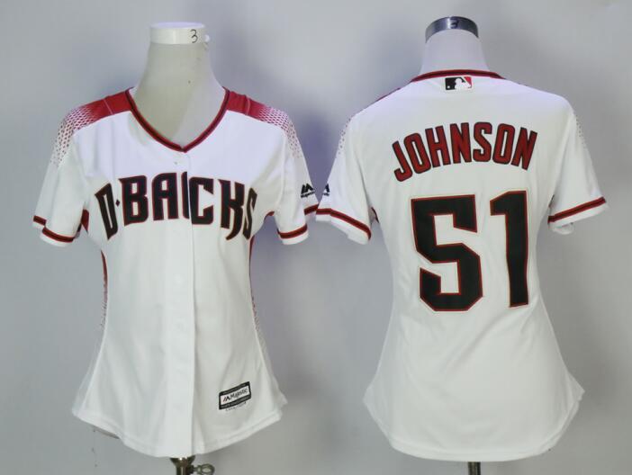 Diamondbacks 51 Randy Johnson White Sedona Women Cool Base Jersey