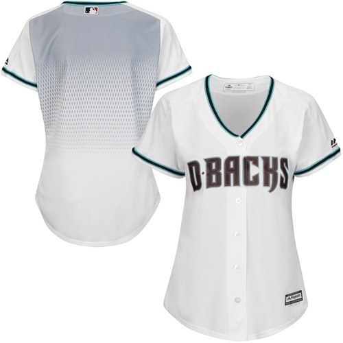 Diamondbacks Blank White Teal Home Women's Stitched Baseball Jersey
