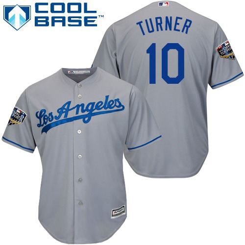 Dodgers #10 Justin Turner Grey Cool Base 2018 World Series Stitched Youth MLB Jersey