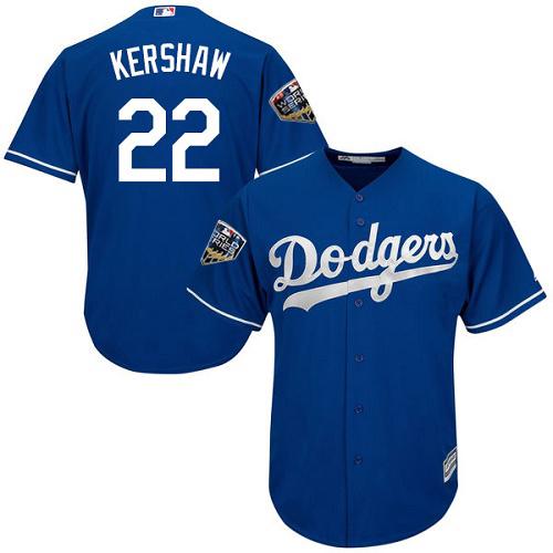 Dodgers #22 Clayton Kershaw Blue Cool Base 2018 World Series jerseysclub.net Stitched Youth MLB Jersey