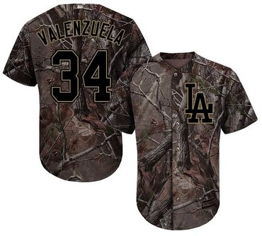 Dodgers #34 Fernando Valenzuela Camo Realtree Collection Cool Base Stitched Baseball Jersey