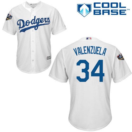 Dodgers #34 Fernando Valenzuela White Cool Base 2018 World Series Stitched Youth MLB Jersey
