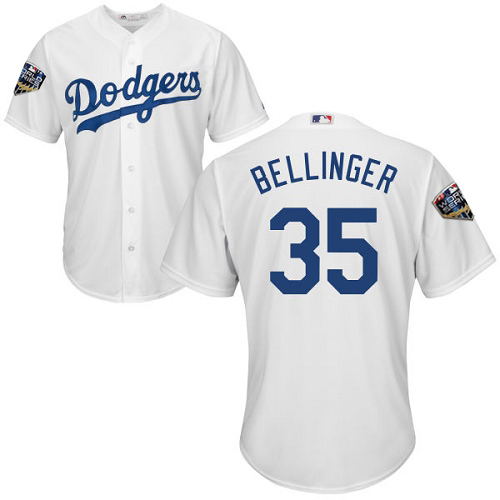 Dodgers #35 Cody Bellinger White Cool Base 2018 World Series Stitched Youth MLB Jersey