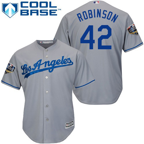 Dodgers #42 Jackie Robinson Grey Cool Base 2018 World Series jerseysclub.net Stitched Youth MLB Jersey