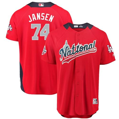 Dodgers #74 Kenley Jansen Red 2018 All-Star National League Stitched Baseball Jersey