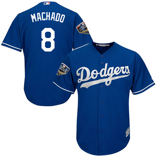 Dodgers #8 Manny Machado Blue Cool Base jerseysclub.net 2018 World Series Stitched  Youth MLB Jersey
