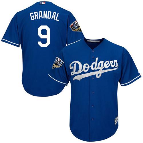 Dodgers #9 Yasmani Grandal Blue Cool Base 2018 World Series Stitched Youth MLB Jersey