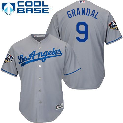 Dodgers #9 Yasmani Grandal Grey Cool Base 2018 World Series Stitched Youth MLB Jersey