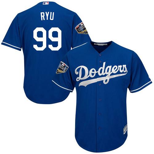 Dodgers #99 Hyun-Jin Ryu Blue Cool Base 2018 World Series Stitched Youth MLB Jersey