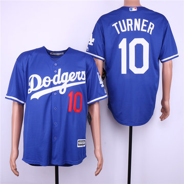 Dodgers 10 Justin Turner Blue Cool Base Jersey