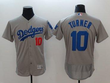 Dodgers 10 Justin Turner Gray Flexbase Jersey