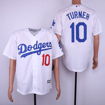 Dodgers 10 Justin Turner White Cool Base Jersey