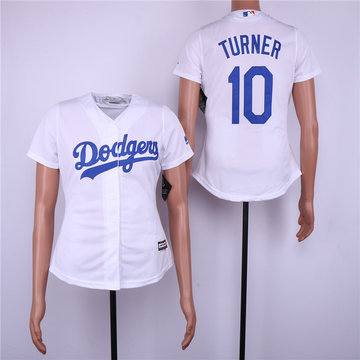 Dodgers 10 Justin Turner White Women Cool Base Jersey