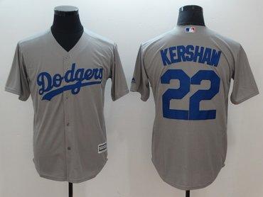 Dodgers 22 Clayton Kershaw Gray Cool Base Jersey