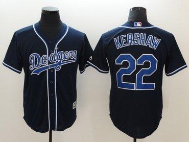 Dodgers 22 Clayton Kershaw Navy Cool Base Jersey