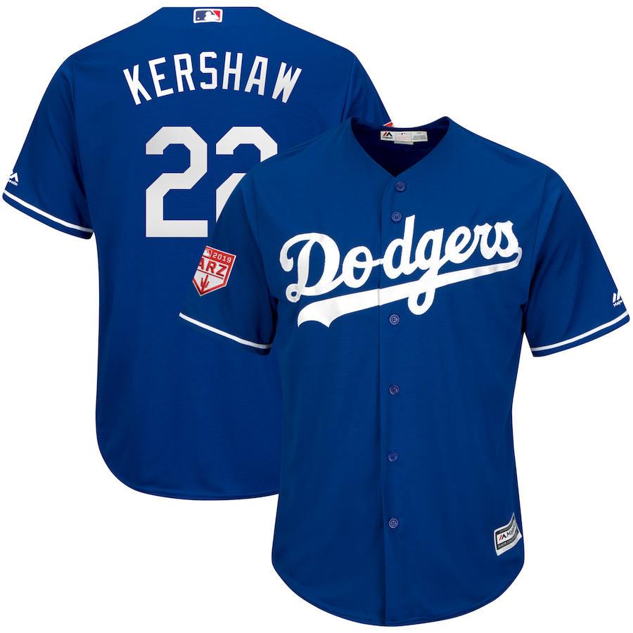 Dodgers 22 Clayton Kershaw Royal 2019 Spring Training Cool Base Jersey