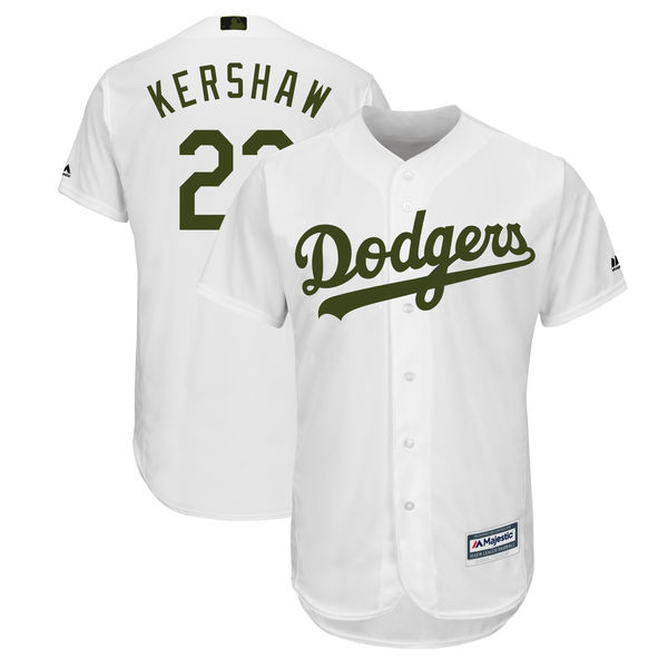 Dodgers 22 Clayton Kershaw White 2018 Memorial Day Cool Base Jersey