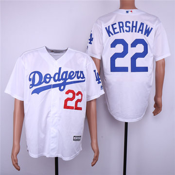 Dodgers 22 Clayton Kershaw White Cool Base Jersey