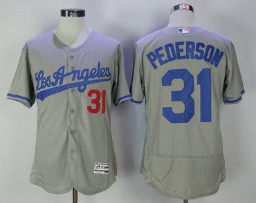 Dodgers 31 Joc Pederson Gray Road Flexbase Jersey