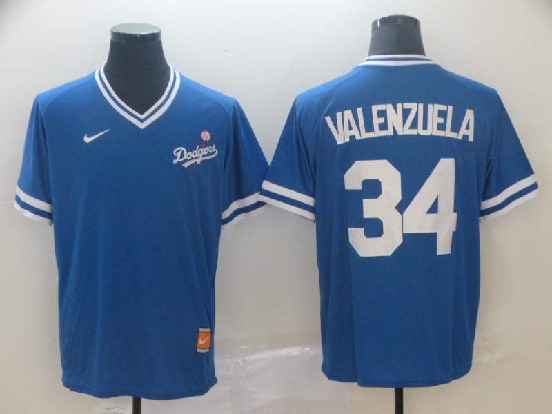 Dodgers 34 Fernando Valenzuela Blue Throwback Jersey