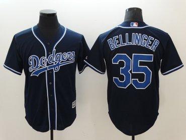 Dodgers 35 Cody Bellinger Navy Cool Base Jersey