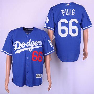 Dodgers 66 Yasiel Puig Royal Cool Base Jersey