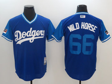 Dodgers 66 Yasiel Puig Wild Horse Royal 2018 Players' Weekend Authentic Team Jersey