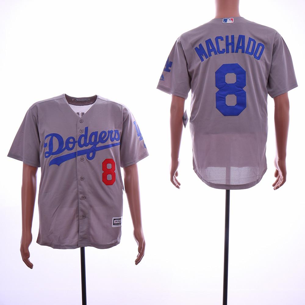 Dodgers 8 Manny Machado Gray Cool Base Jersey