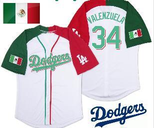 Dodgers Mexican #34 Fernando Valenzuela Baseball Jersey