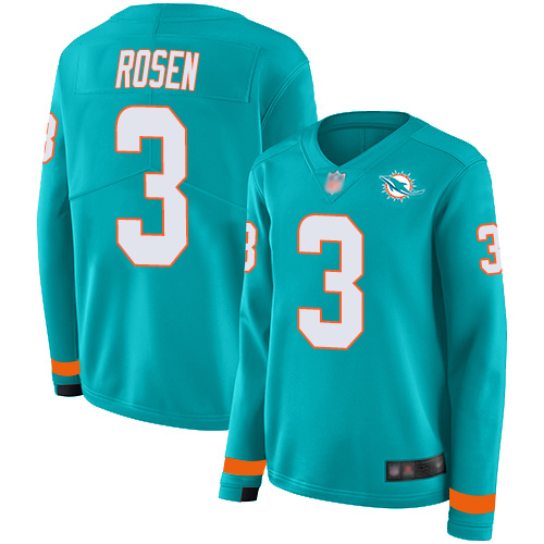 Dolphins #3 Josh Rosen Aqua Green Team Color Women's Stitched Football Limited Therma Long Sleeve Jersey