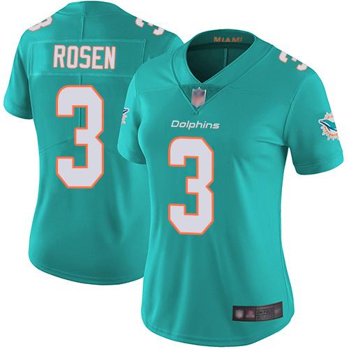Dolphins #3 Josh Rosen Aqua Green Team Color Women's Stitched Football Vapor Untouchable Limited Jersey