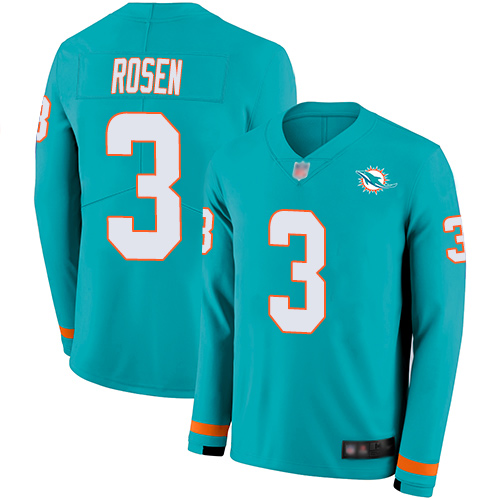 Dolphins #3 Josh Rosen Aqua Green Team Color Youth Stitched Football Limited Therma Long Sleeve Jersey