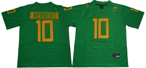 Ducks #10 Justin Herbert Green Limited Stitched NCAA Jersey