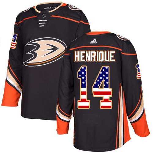 Ducks #14 Adam Henrique Black Home Authentic USA Flag Stitched Hockey Jersey