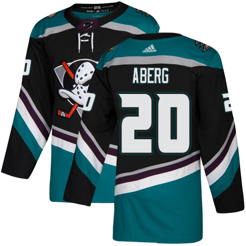 Ducks #20 Pontus Aberg Black Teal Alternate Authentic Stitched Hockey Jersey