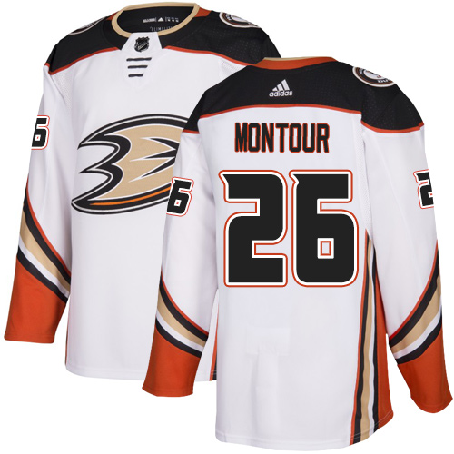 Ducks #26 Brandon Montour White Road Authentic Stitched Hockey Jersey