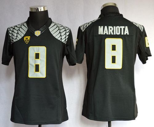 Ducks #8 Marcus Mariota Black Women's Limited Stitched NCAA Jersey