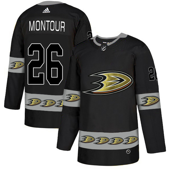Ducks 26 Brandon Montour Black Team Logos Fashion Adidas Jersey