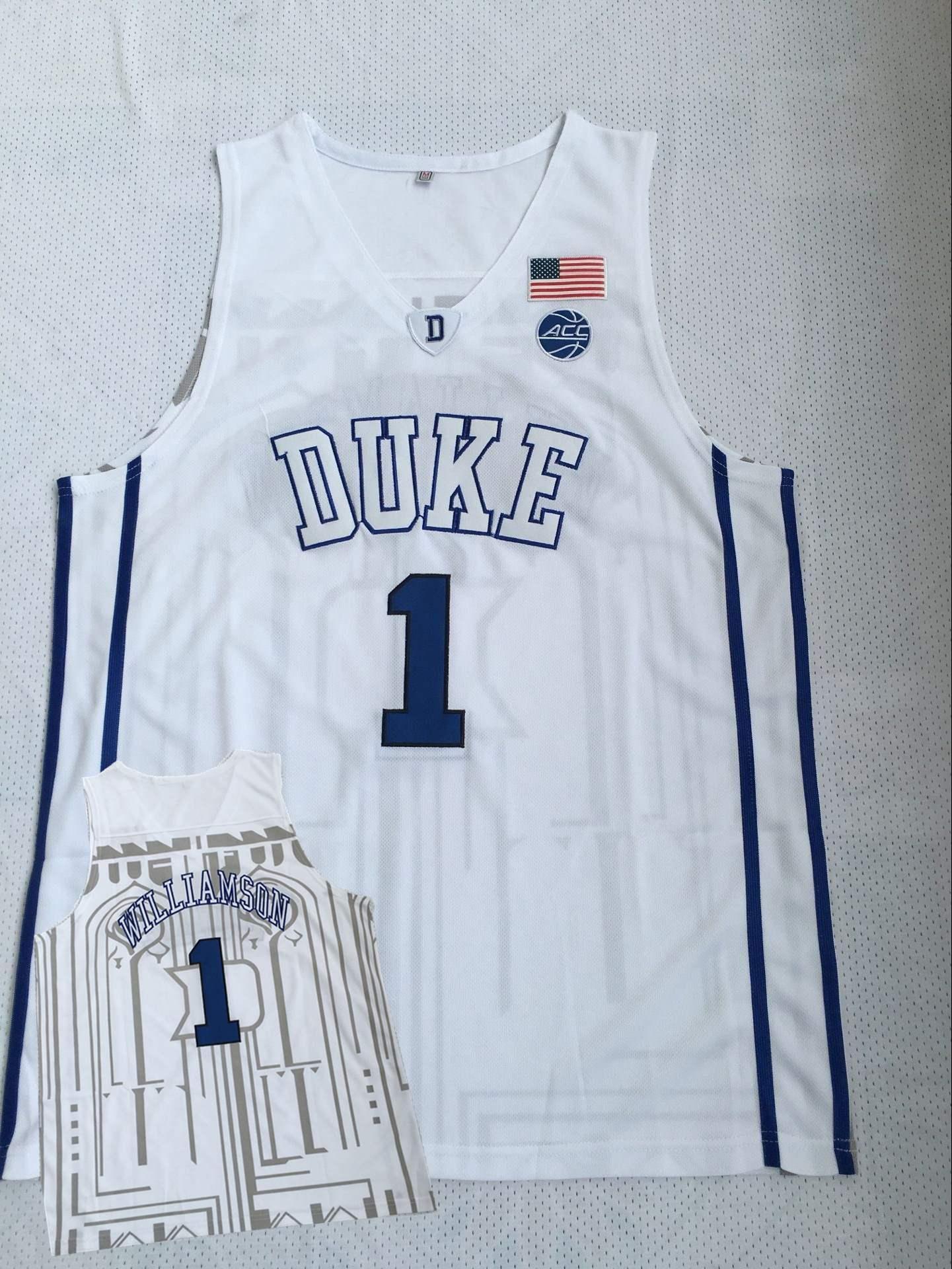Duke Blue Devils 1 Zion Williamson White College Basketball Jersey
