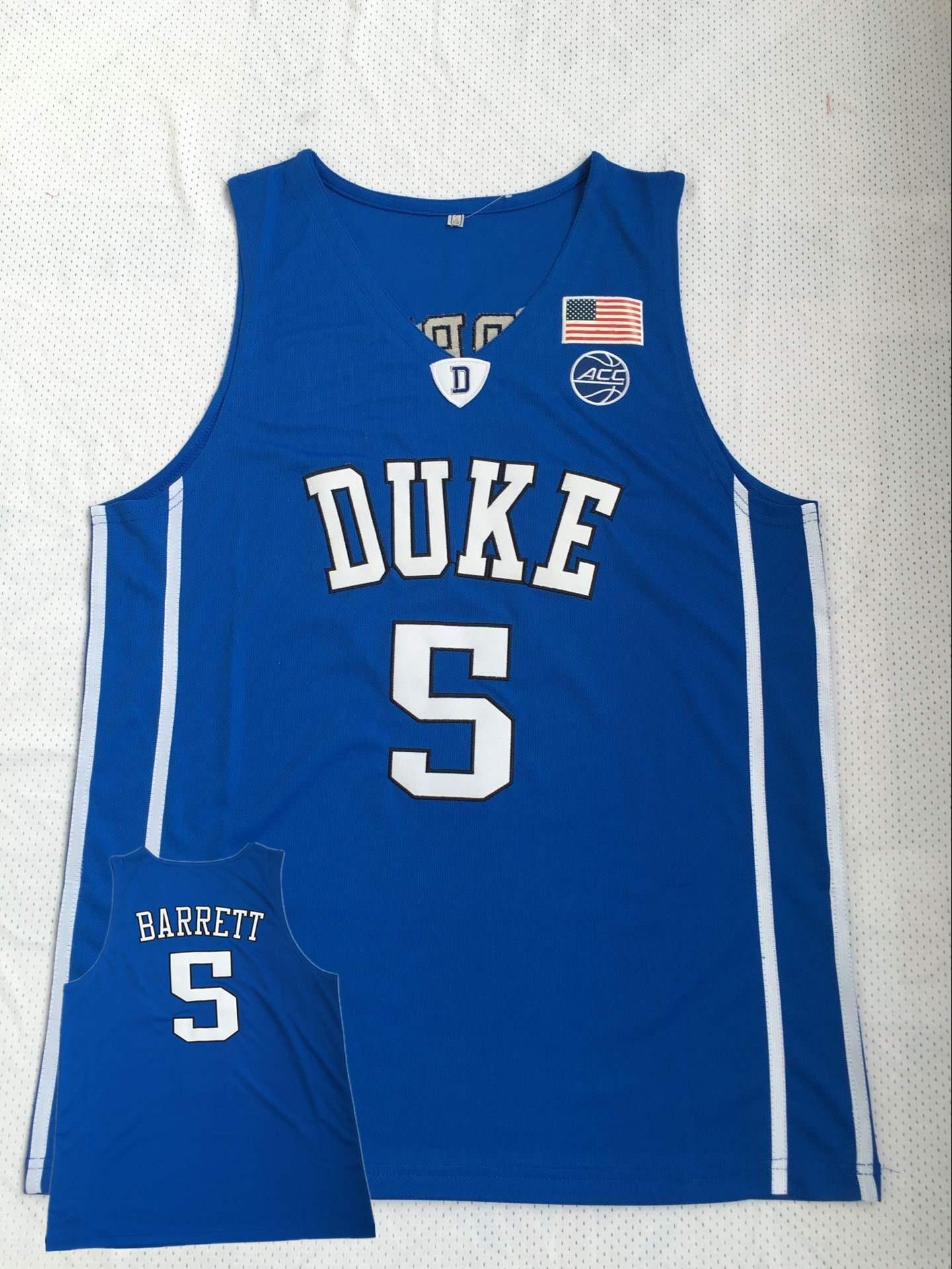 Duke Blue Devils 5 R.J. Barrett Blue College Basketball Jersey