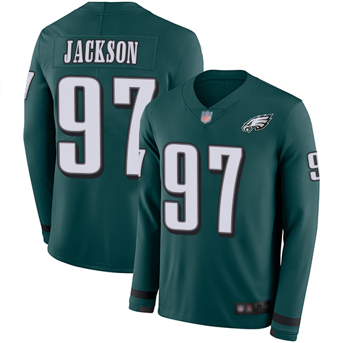 Eagles #97 Malik Jackson Midnight Green Team Color Men's Stitched Football Limited Therma Long Sleeve Jersey