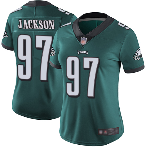 Eagles #97 Malik Jackson Midnight Green Team Color Women's Stitched Football Vapor Untouchable Limited Jersey