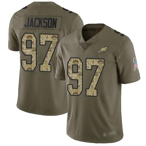 Eagles #97 Malik Jackson Olive Camo Men's Stitched Football Limited 2017 Salute To Service Jersey