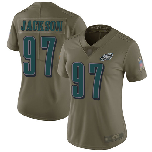 Eagles #97 Malik Jackson Olive Women's Stitched Football Limited 2017 Salute to Service Jersey