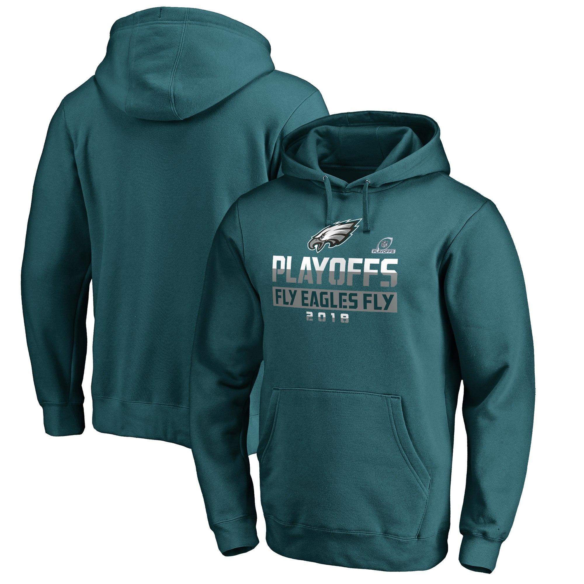Eagles Green 2018 NFL Playoffs Fly Eagles Fly Men's Pullover Hoodie